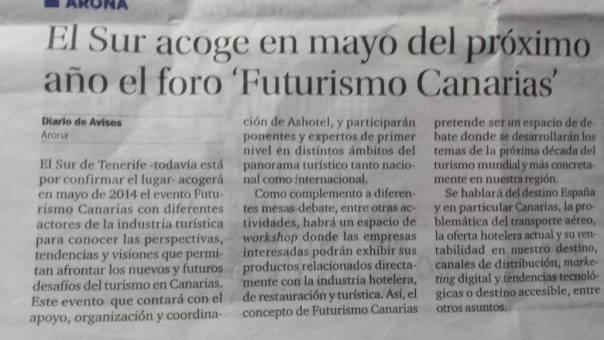 nota de prensa futurismo Canarias